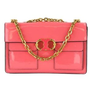 Tory Burch Pink Patent Leather Gemini Shoulder Bag